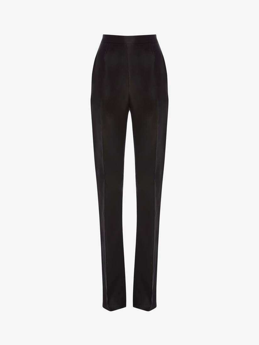 Display a large version of the product image 1 - Light Wool Silk High Waisted Tuxedo Pants