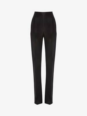 Light Wool Silk High Waisted Tuxedo Trouser