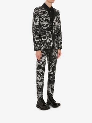 Painted Skull Jacquard Cigarette Trousers