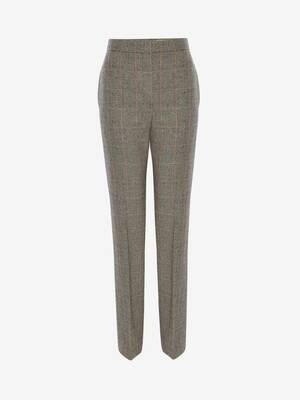 Long pantalon cigarette prince-de-galles