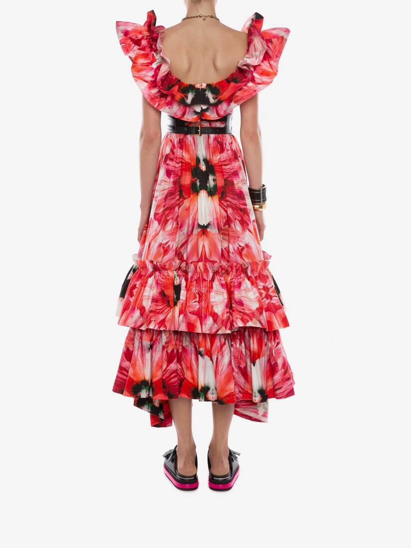 Display a large version of the product image 4 - Exotic Floral Ruffle Evening Dress