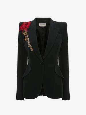 Embroidered Peak Shoulder Wool Jacket