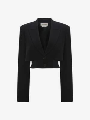 Cropped Rib Knit Jacket
