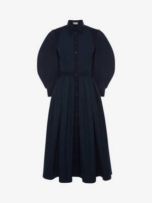 Robe mi-longue à harnais en popeline de coton