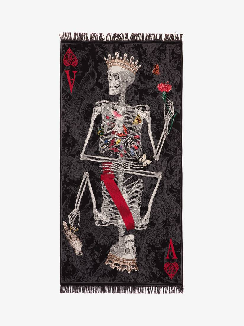 Display a large version of the product image 1 - Queen of Hearts Skeleton Shawl