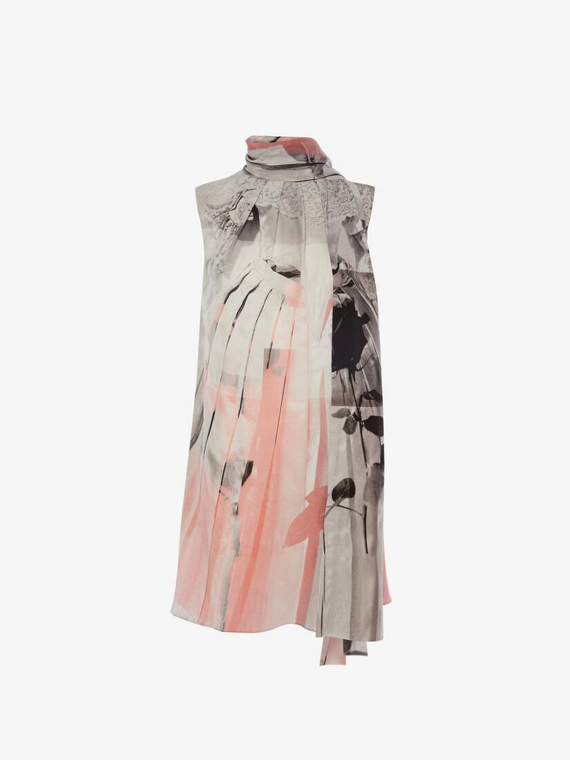 Display a large version of the product image 1 - Trompe-l'œil Scarf Neck Dress
