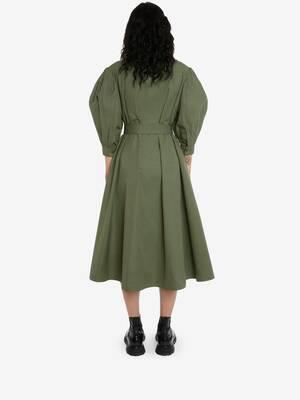 Military Midi Shirt Dress