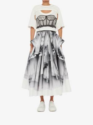 Tulle Toile Bow Drape Faille Skirt