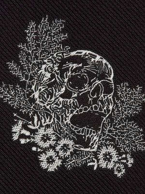 Embroidered Ivy Skull Tie