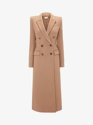 Manteau camel à double boutonnage