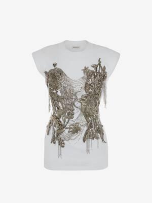 T-shirt avec broderies nénuphars