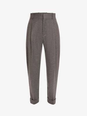 Wool Flannel Tailored Peg Trousers