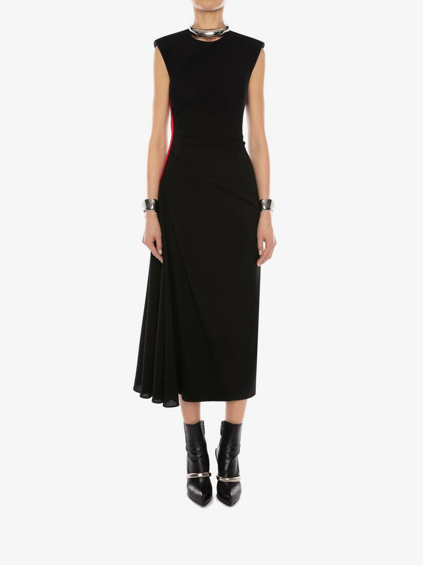 Display a large version of the product image 2 - Military Wool Crepe Midi Dress