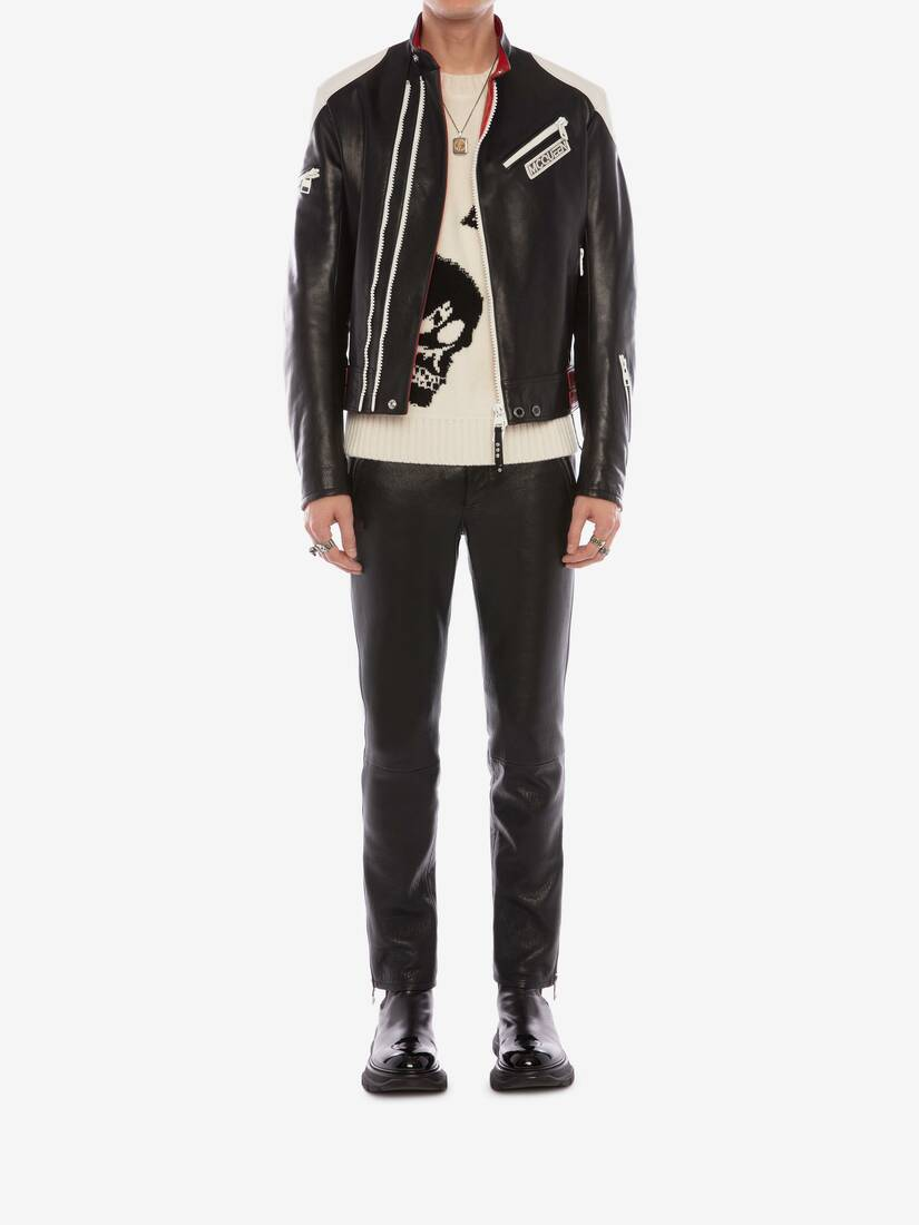 Display a large version of the product image 2 - McQueen Classic Leather Biker Trousers