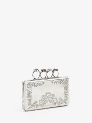Jewelled Four-Ring Metal Engraved Case