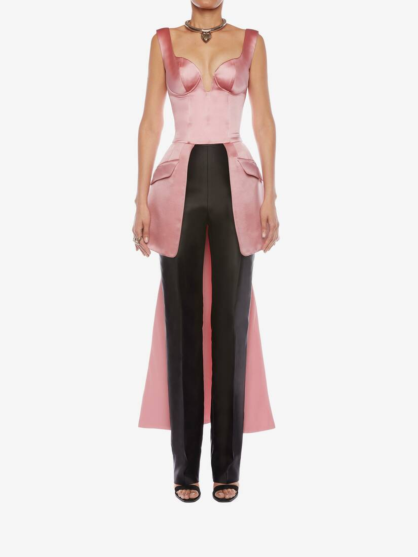 Display a large version of the product image 2 - Light Wool Silk High Waisted Tuxedo Pants