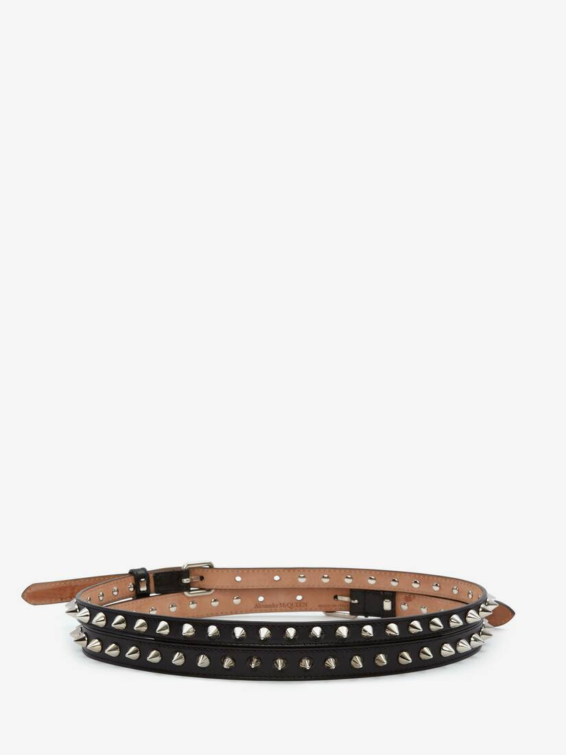 Thin Double Belt with Studs