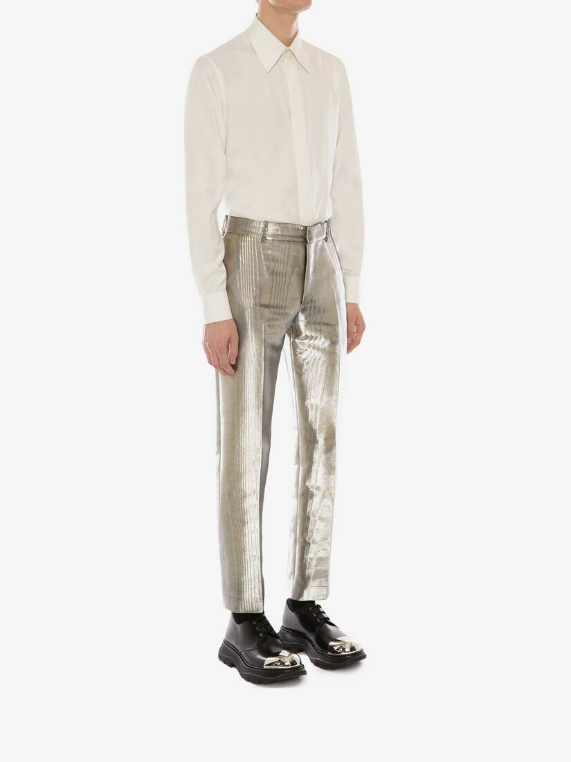 Display a large version of the product image 3 - Metallic Moiré Cigarette Trousers