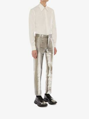 Metallic Moiré Cigarette Trousers