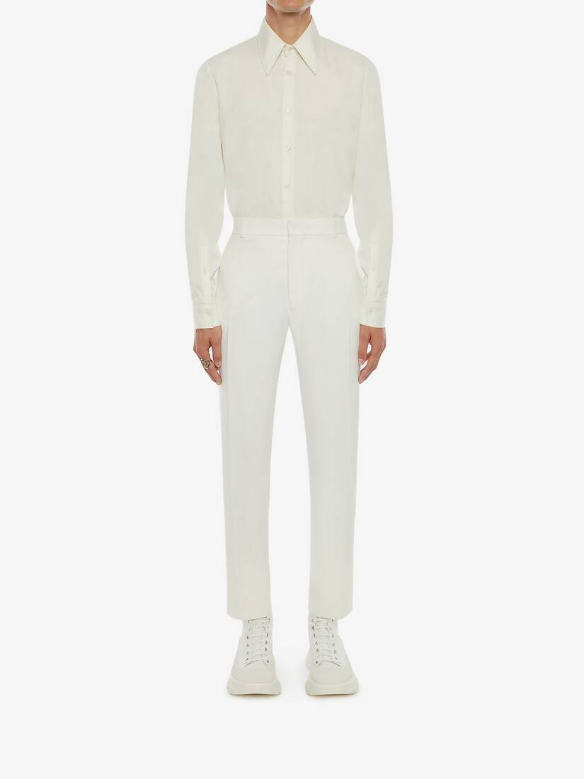 Ivory Wool Serge Cigarette Trousers