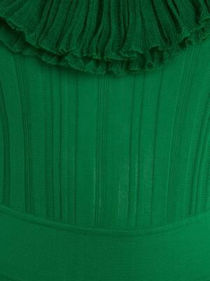 Scoop Neck Ruffles Knit Dress