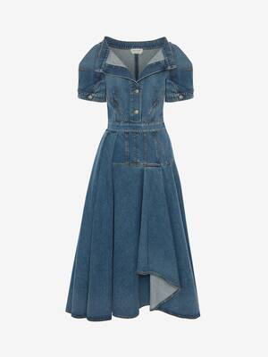 Asymmetric Denim Midi Dress