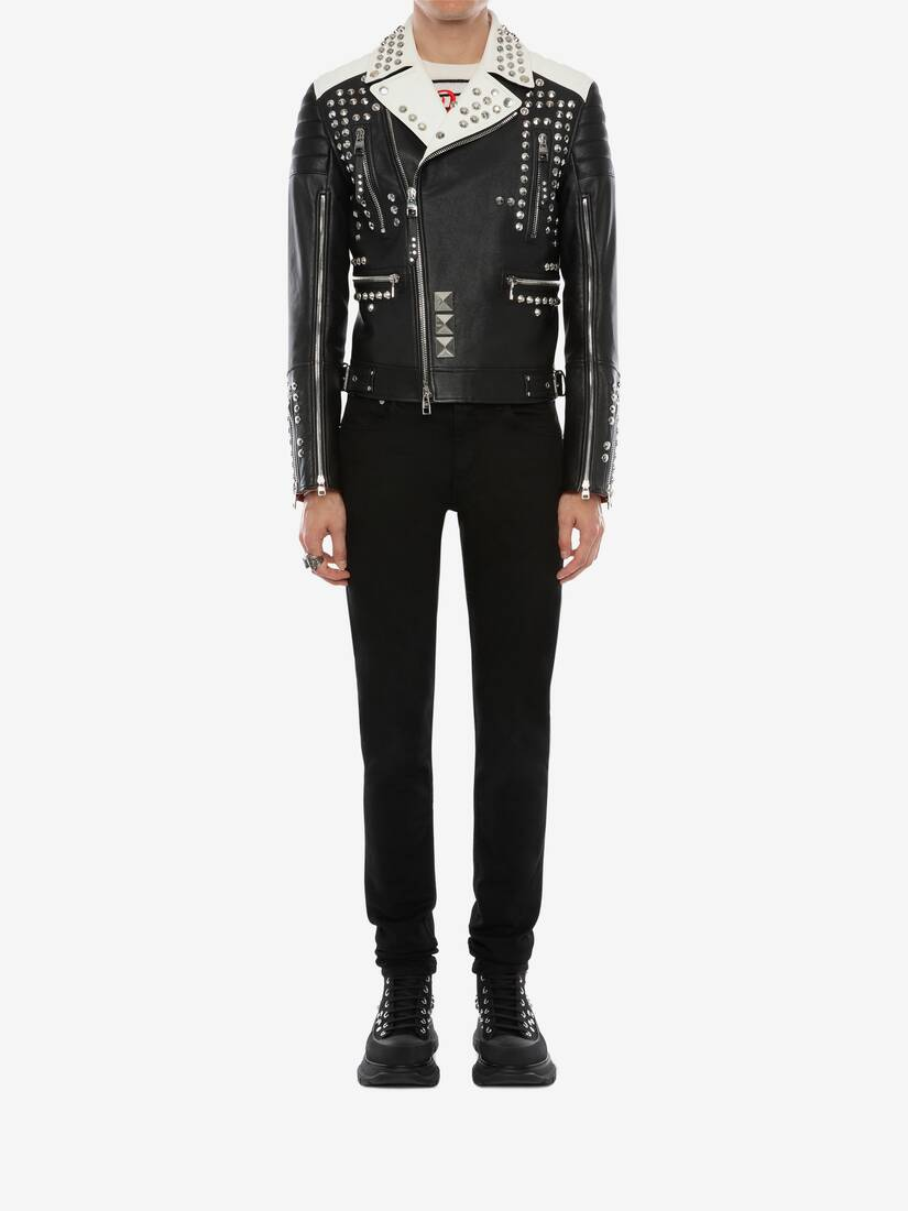 Display a large version of the product image 3 - Studded Leather Biker Jacket