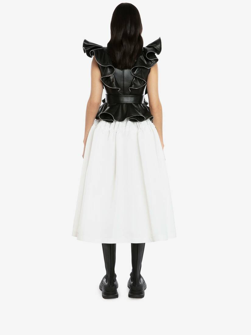 Leather Ruffles Biker Jacket