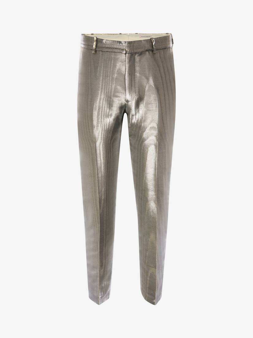 Display a large version of the product image 1 - Metallic Moiré Cigarette Trousers