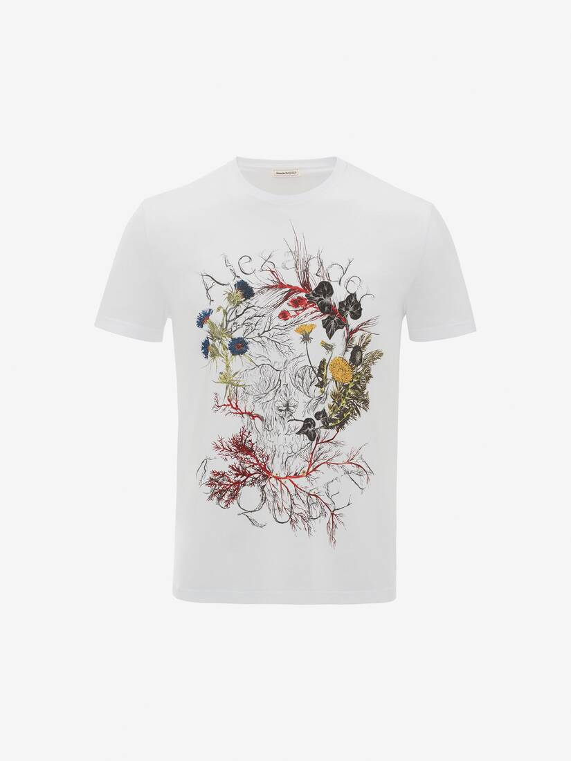Display a large version of the product image 1 - Glowing Botanical Skull T-Shirt