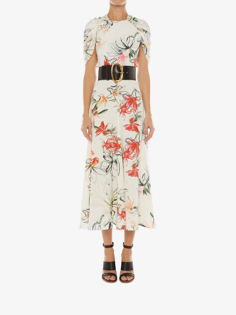Display a large version of the product image 2 - Endagered Flower Cape Sleeve Midi Dress