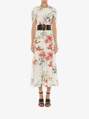 Endagered Flower Cape Sleeve Midi Dress