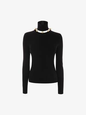 Metallic Sphere High-Neck Jumper
