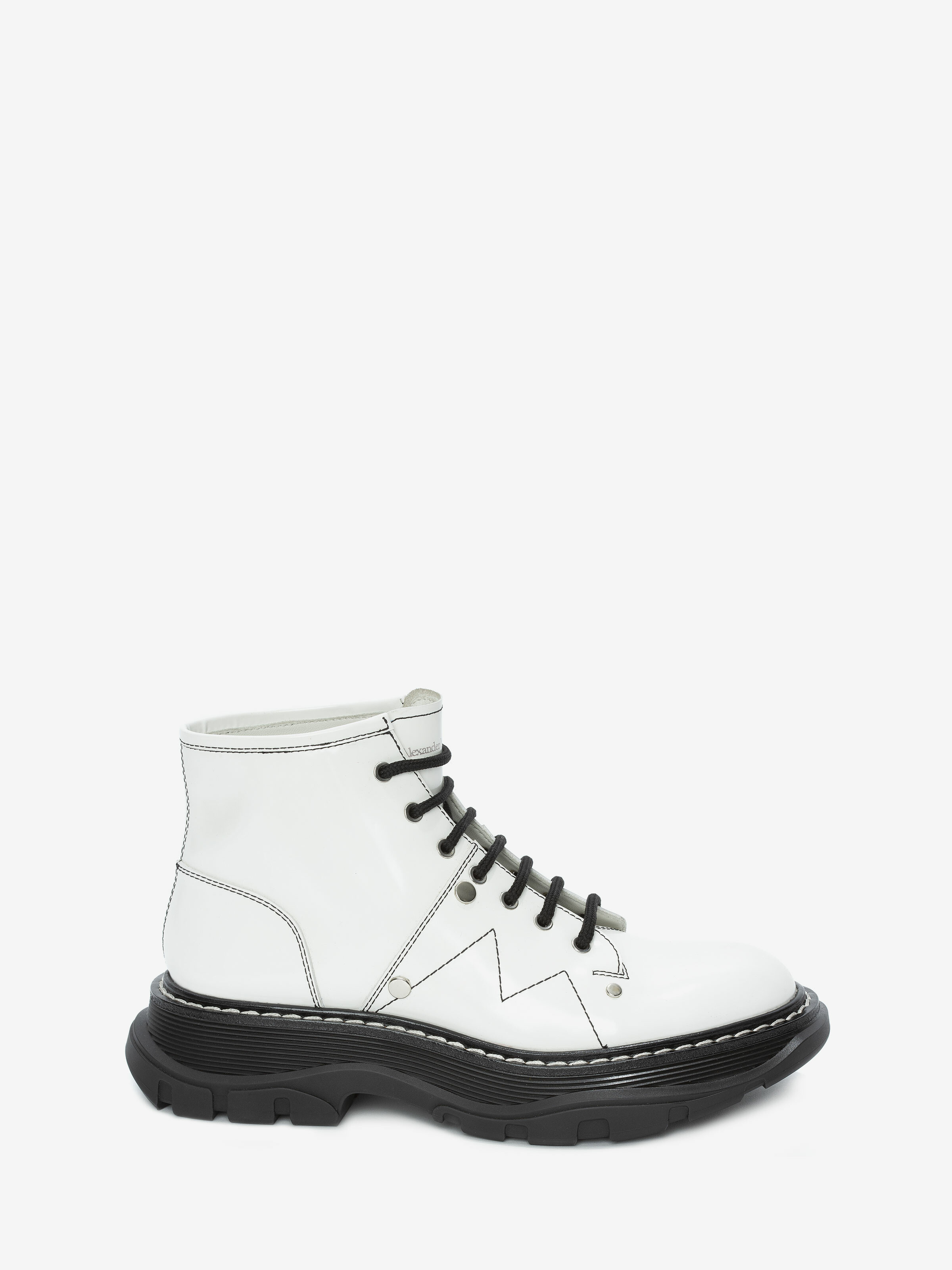 Alexander Mcqueen White Leather Ankle
