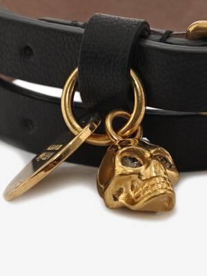 Bracelet double tour Skull en cuir platine