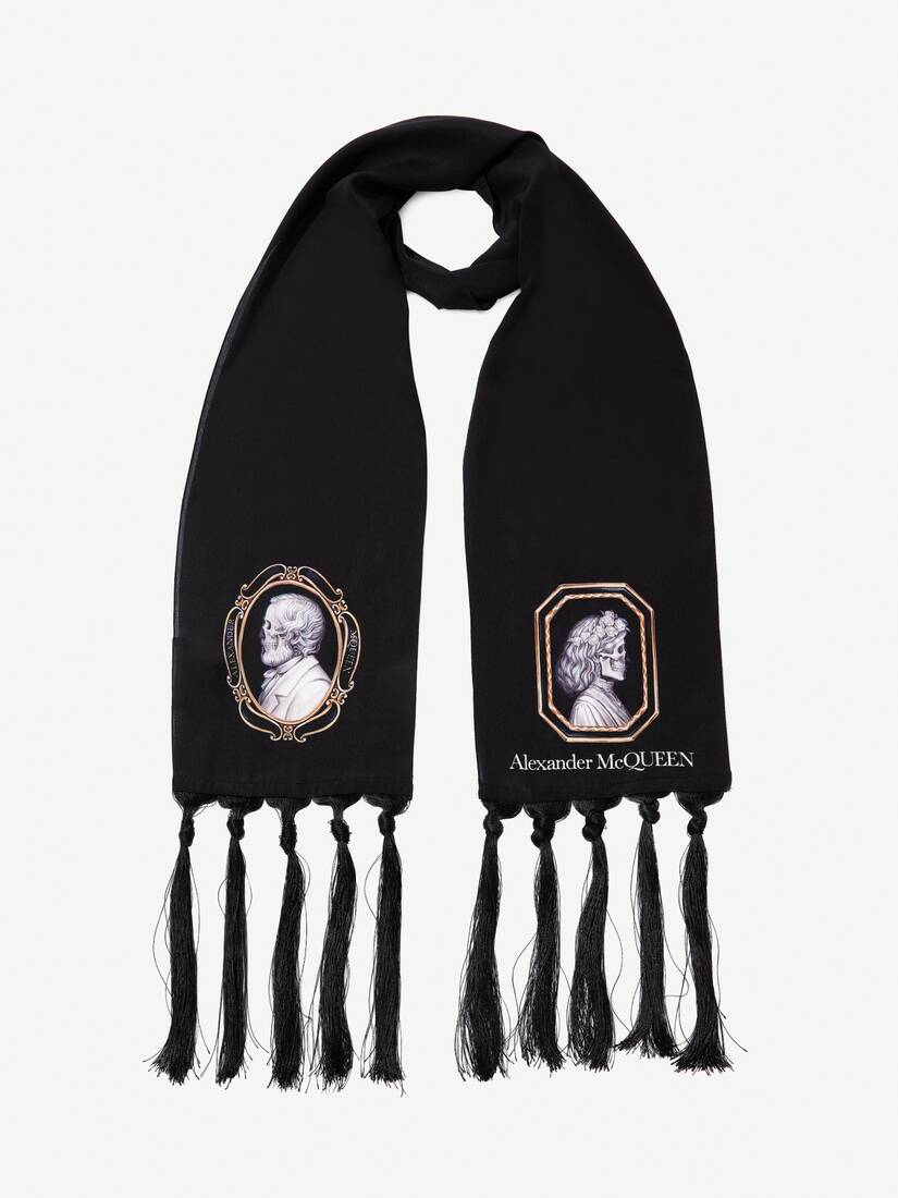 Display a large version of the product image 2 - Skull Portrait Silk Scarf