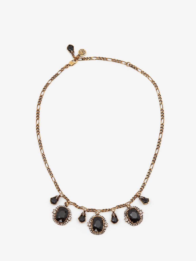 Display a large version of the product image 1 - Short Necklace with Jewelled Droplet Pendant