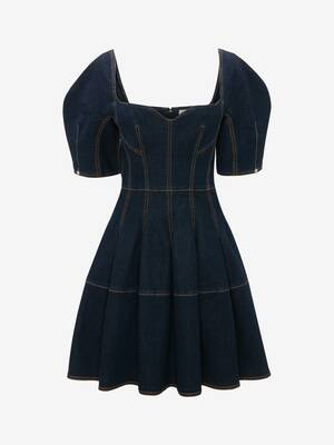 Cocoon Sleeve Denim Mini Dress