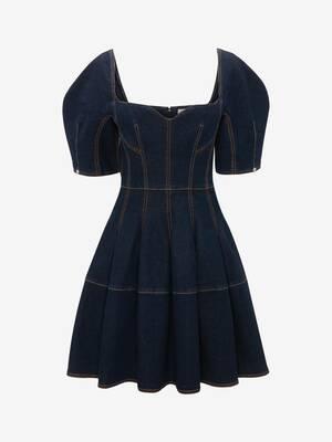 코쿤 슬리브 데님 미니 드레스