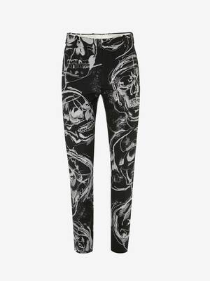 Painted Skull Jacquard Cigarette Trousers