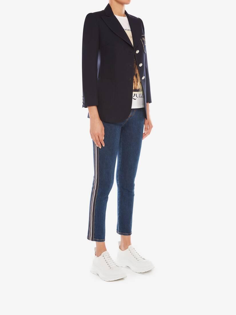 Veste en panama de coton à poches plaquées
