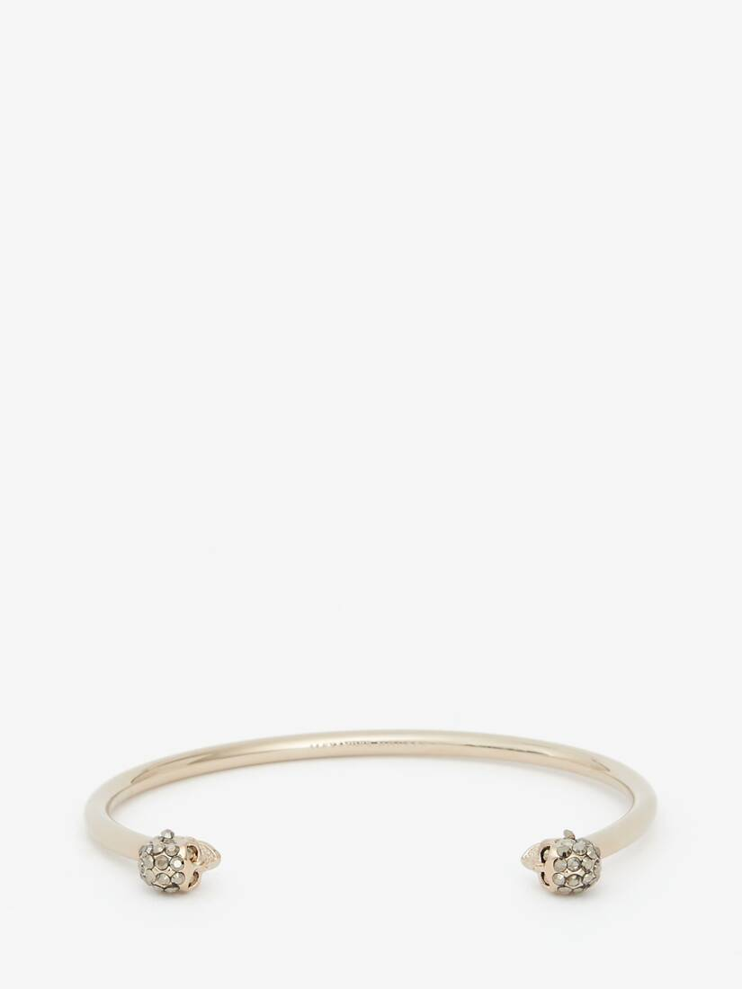 Thin Jewelled Twin skull bracelet