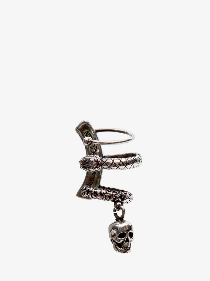 Display a large version of the product image 1 - Skull and Snake Ear Cuff