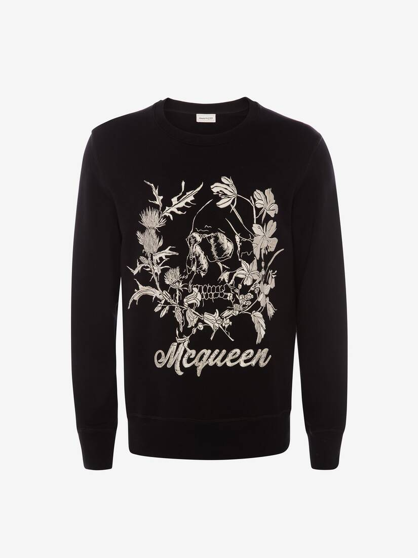 Display a large version of the product image 1 - Deconstructed Floral Skull Sweatshirt