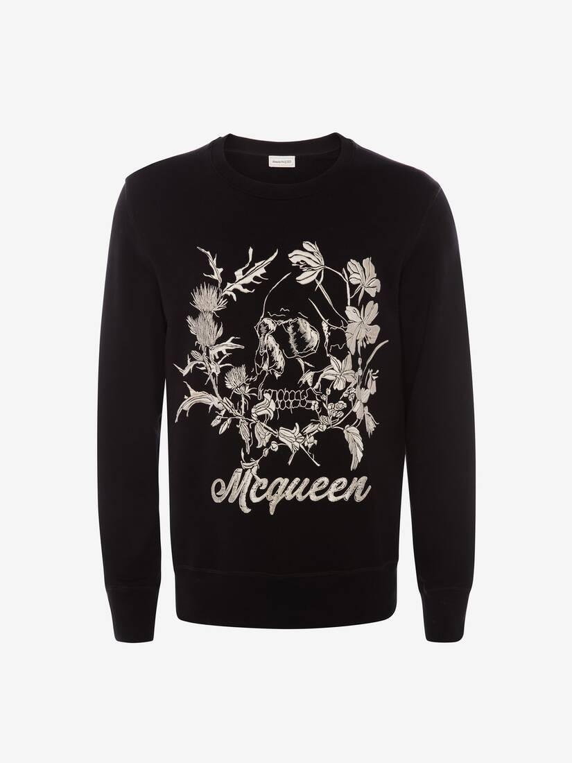 Afficher une grande image du produit 1 - Sweat-shirt à motif Floral Skull déstructuré