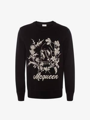 Deconstructed Floral Skull Sweatshirt