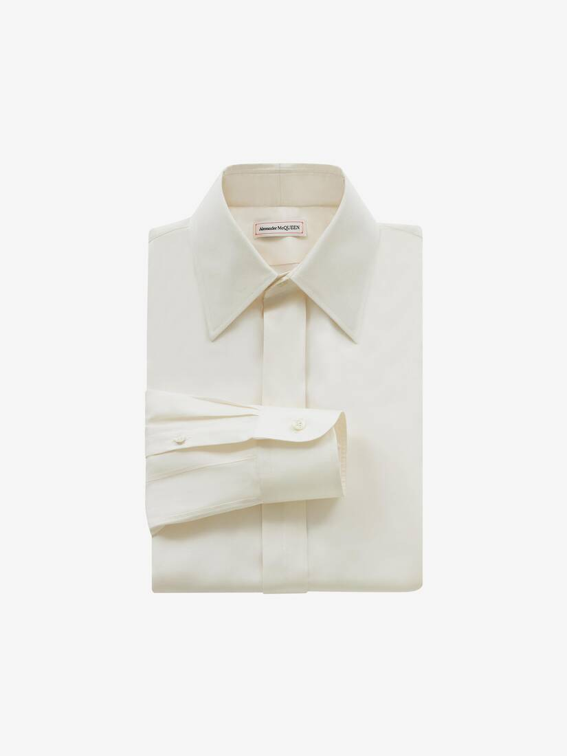 Display a large version of the product image 1 - Pointy Collar Silk Poplin Shirt