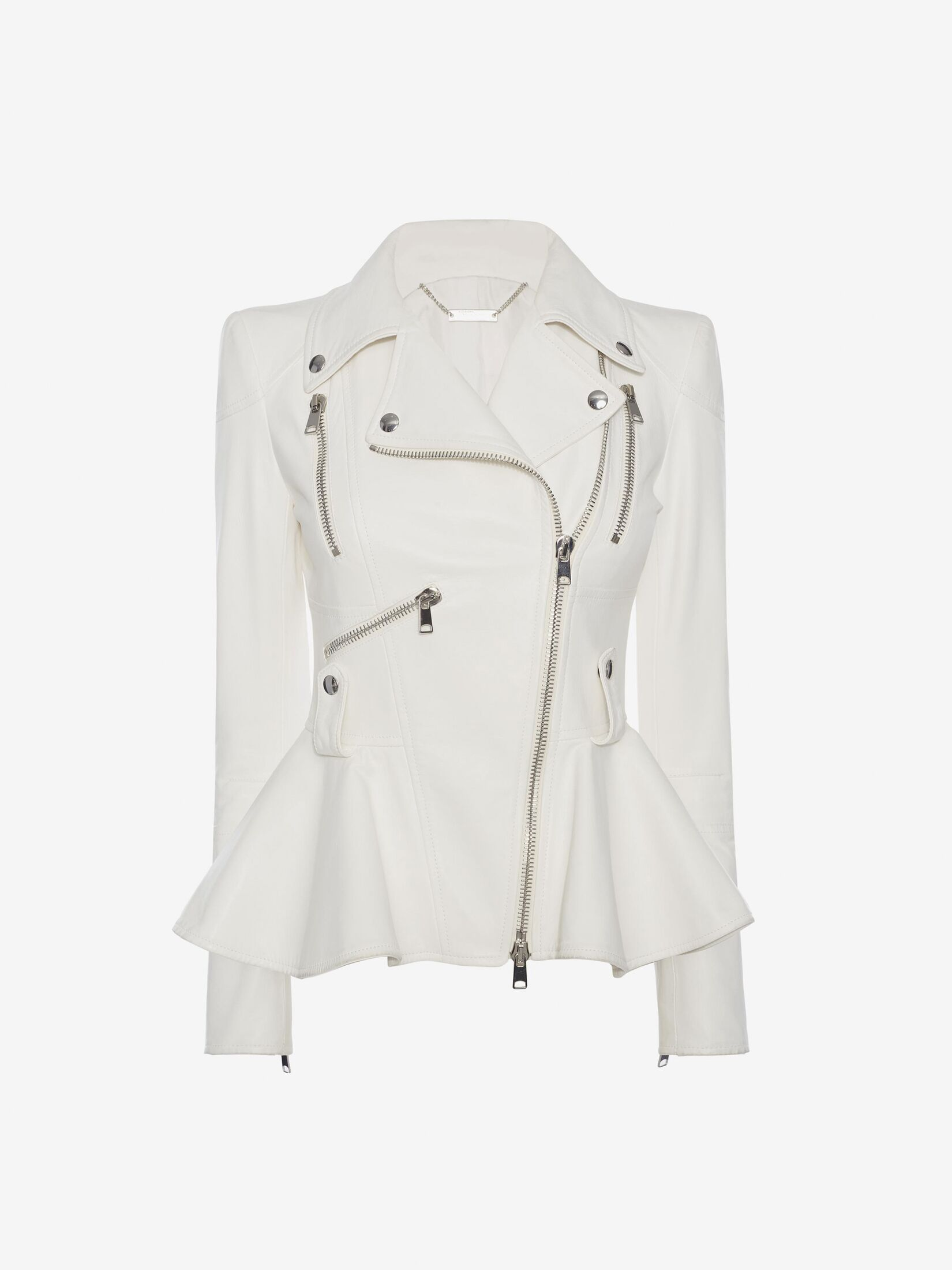 Alexander McQueen peplum biker jacket in ivory leather