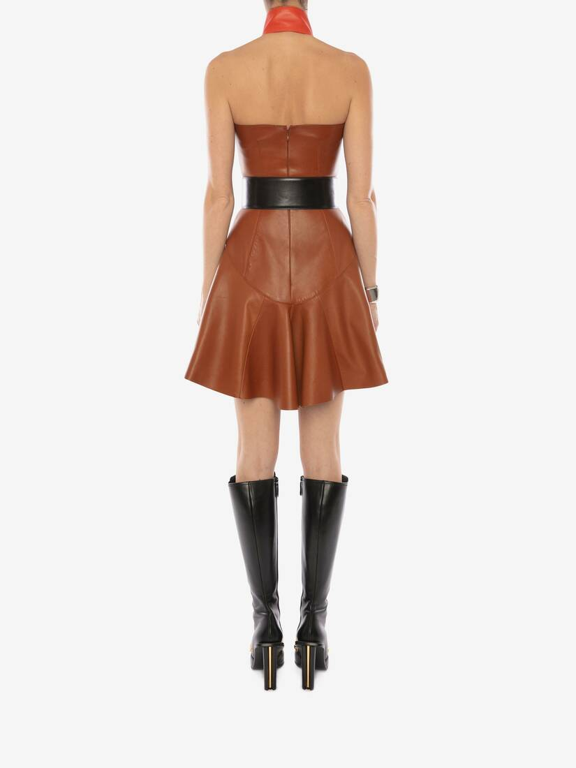 Display a large version of the product image 4 - Halterneck Leather Mini Dress