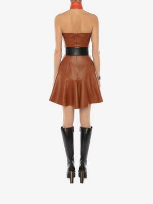 Halterneck Leather Mini Dress